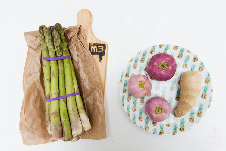 groene asperger en rapen