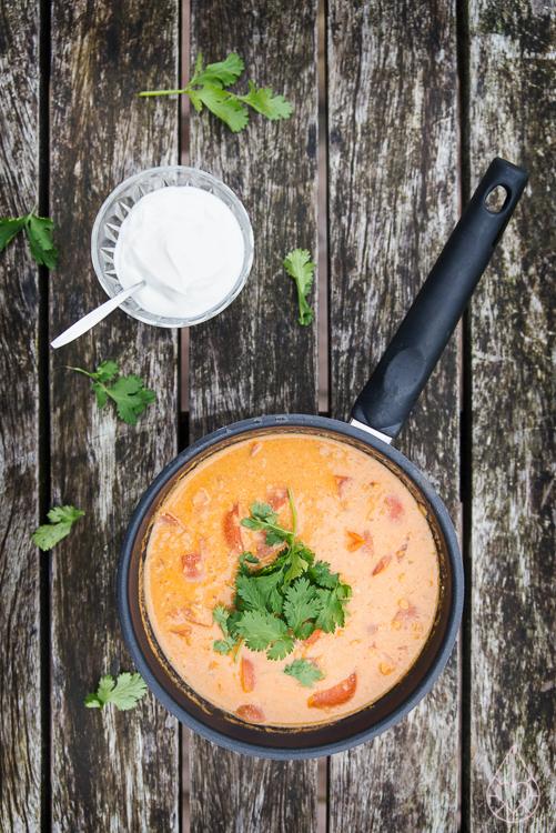 Curry met rode linzen en tomaat, by zilverblauw.nl