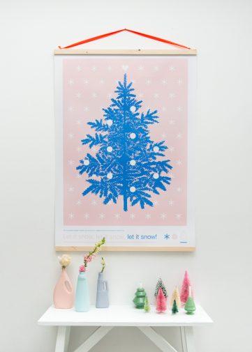 kerstposter zilverblauw