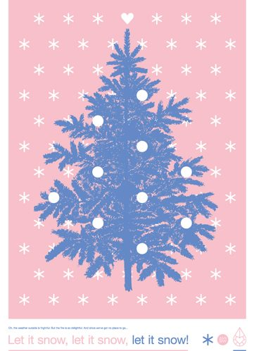 Poster Let it Snow! Zilverblauw