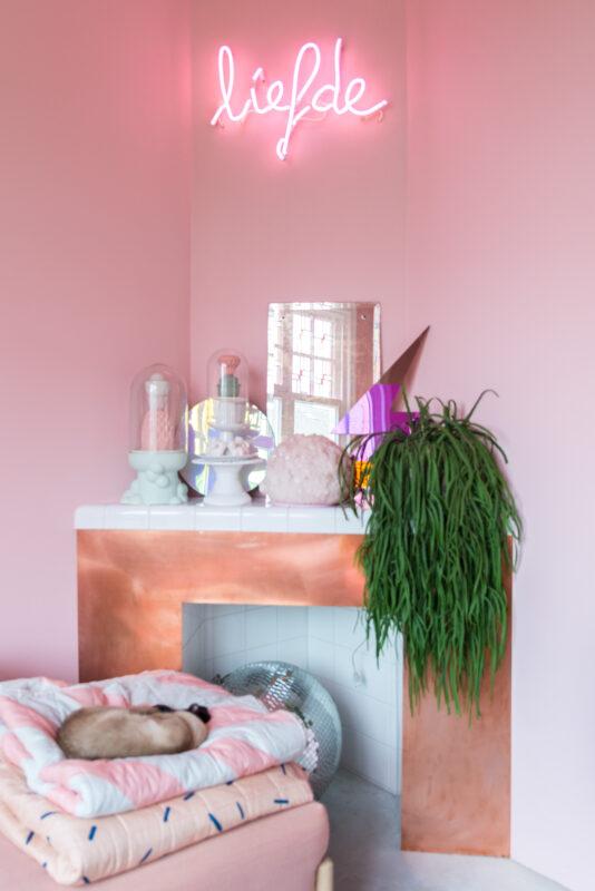 pink room zilverblauw