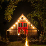 A-frame by night